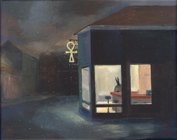 "Joanna Karpowicz, ""Ankh Bar"", 24 x 30 cm, acrylic on canvas, 2016"