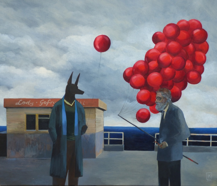 "Joanna Karpowicz / ""Anubis with red baloons"", 60 x 70 cm, acrylic on canvas, 2014"