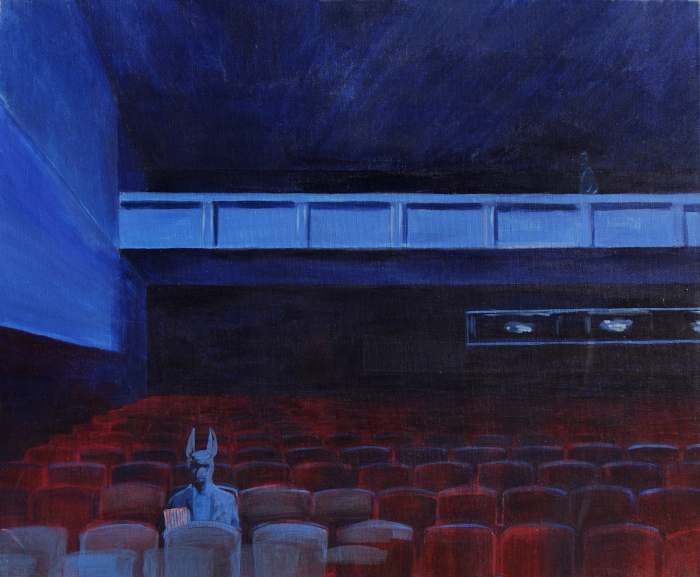 "Joanna Karpowicz / ""Anubis at the cinema"", 54 x 68 cm, acrylic on canvas, 2012"