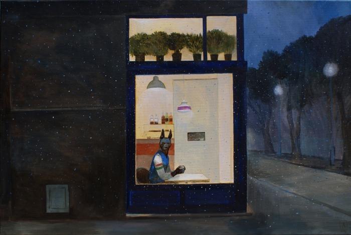 "Joanna Karpowicz / ""Anubis at the coffee place"", 60 x 90 cm, acrylic on canvas, 2012"