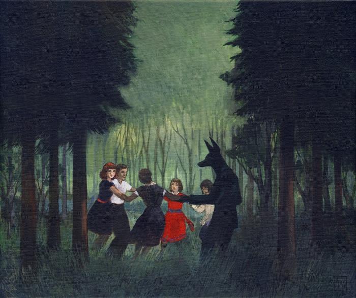 "Joanna Karpowicz / ""Anubis dancing"", 35 x 48 cm, acrylic on canvas, 2014"