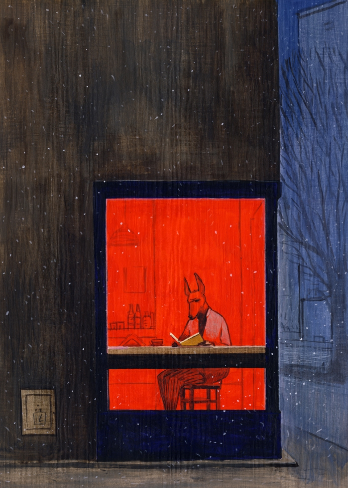 "Joanna Karpowicz / ""Anubis reading"", 35 x25 cm, acrylic on paper, 2014"