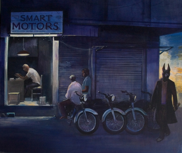 "Joanna Karpowicz / ""Anubis at the motor shop"", 60 x 70 cm, acrylic on canvas, 2014"