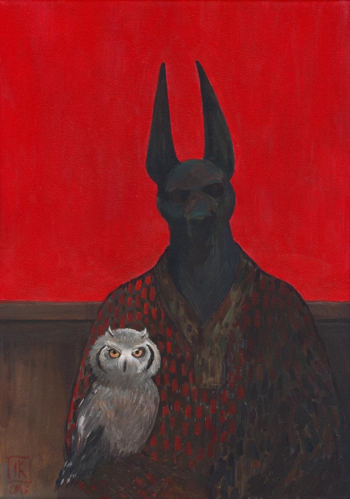 """Joanna Karpowicz / """"Anubis and owl"""", 45 x 33 cm, 2016"""
