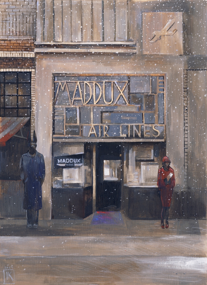 "Joanna Karpowicz, ""Maddux Air Lines"", 25 x 35 cm, acrylic on paper, 2015"