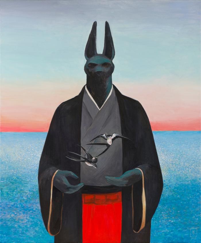 """Joanna Karpowicz """"Anubis i jaskółki"""", 66 x 55 cm, akryl na płótnie, 2016"""