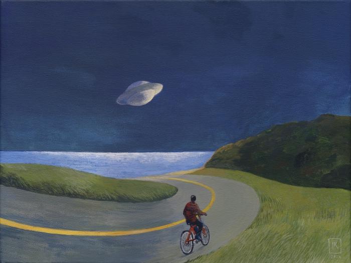"""Joanna Karpowicz / """"Cyclist and UFO"""", 30 x 40 cm, acrylic on canvas, 2013"""