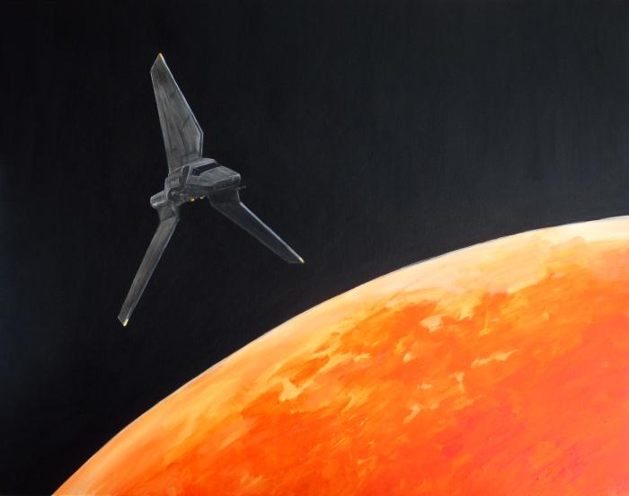 """Joanna Karpowicz / """"Imperial Shuttle"""", 73 x 92 cm, acrylic on canvas, 2016"""