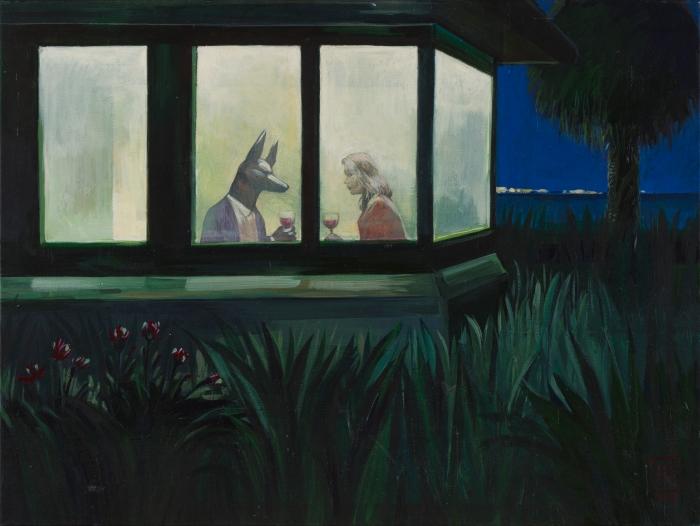 """Joanna Karpowicz """"Anubis na randce"""", 46 x 61 cm, akryl na płótnie, 2013"""