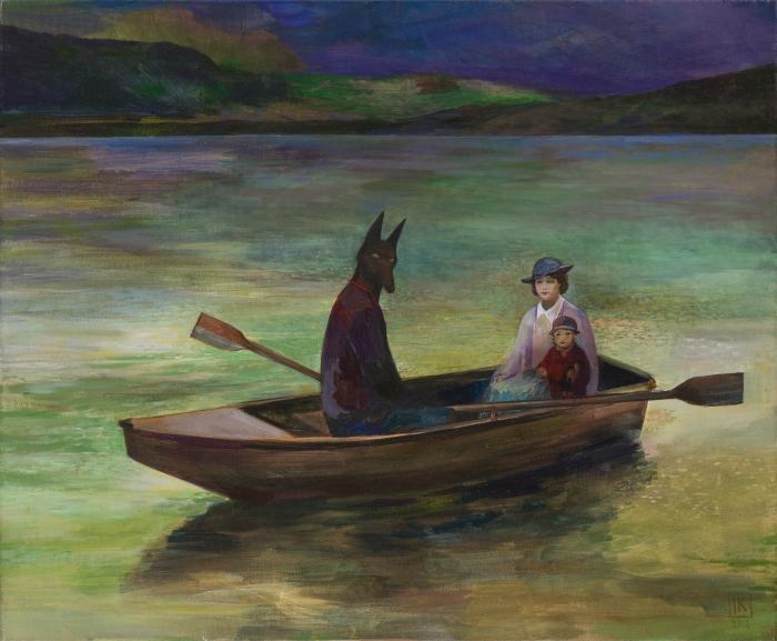 """Joanna Karpowicz """"Anubis w łódce"""", 53 x 65 cm, akryl na płótnie, 2013"""