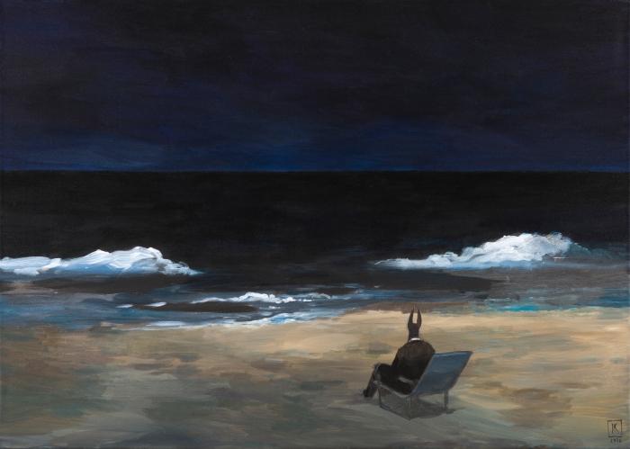 """Joanna Karpowicz """"Anubis nad Morzem Czarnym"""", 54 x 65 cm, akryl na płótnie, 2016"""
