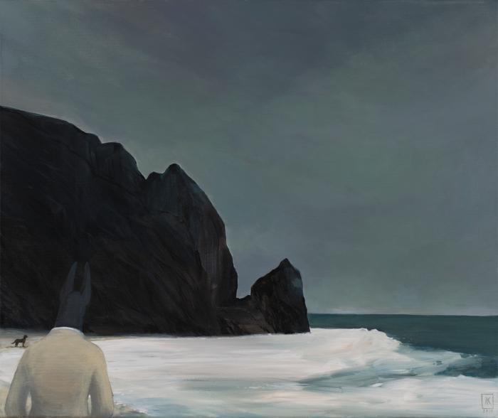 """Joanna Karpowicz """"Anubis i skała"""", 54 x 65 cm, akryl na płótnie, 2016"""