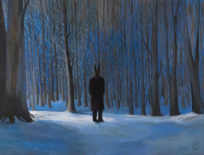 """Joanna Karpowicz """"Anubis w Lasku Wolskim"""", 67 x 90 cm, akryl na płótnie, 2016"""