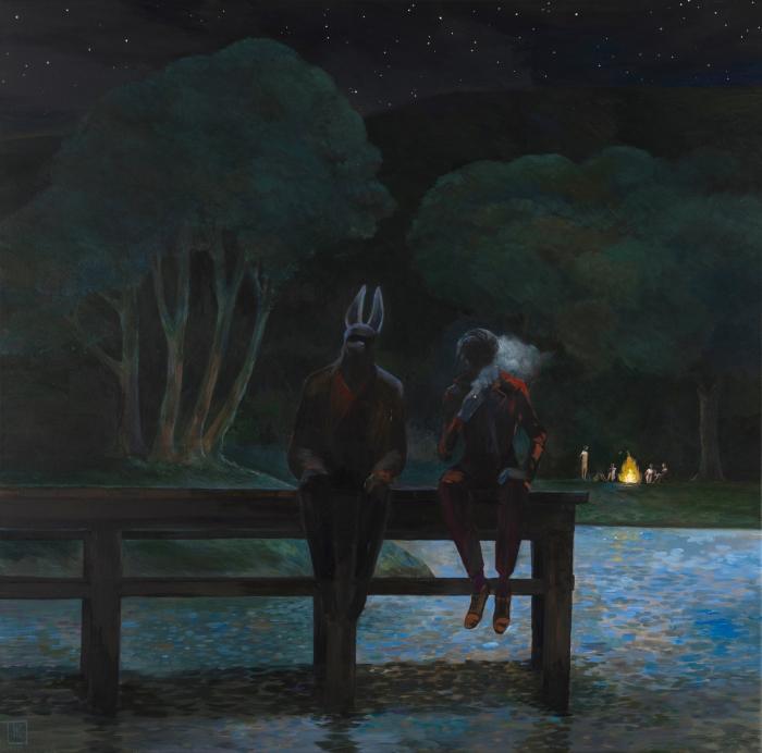 """Joanna Karpowicz """"Anubis i David"""", 80 x 80 cm, akryl na płótnie, 2016"""