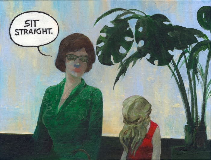 "Joanna Karpowicz / ""Sit straight!"", 30 x 40 cm, acrylic on canvas, 2015."