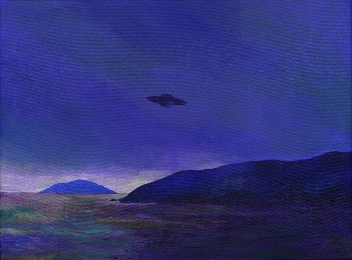 "Joanna Karpowicz / ""Ufo above the Ionian Sea II"", 30 x 40 cm, acrylic on canvas, 2013"