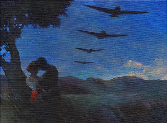 "Joanna Karpowicz / ""War II"", 30 x 40 cm, acrylic on canvas, 2015"