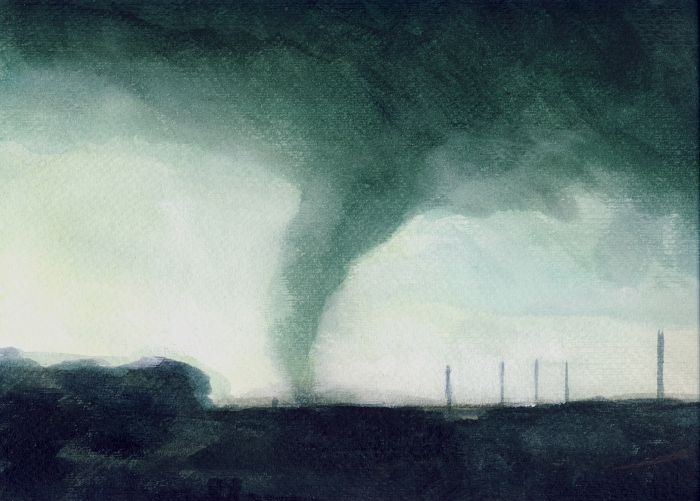 """Joanna Karpowicz / """"Green Tornado"""", 25 x 30 cm, acrylic on paper, 2012"""